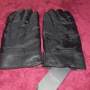 New W Tags Ted Baker Nylon Glove Leather Black M-L